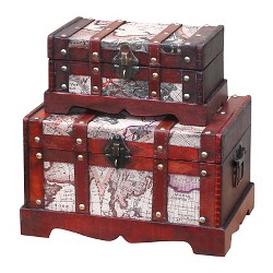 Old World Map Wooden Trunk (Set of 2) - Quickway Imports
