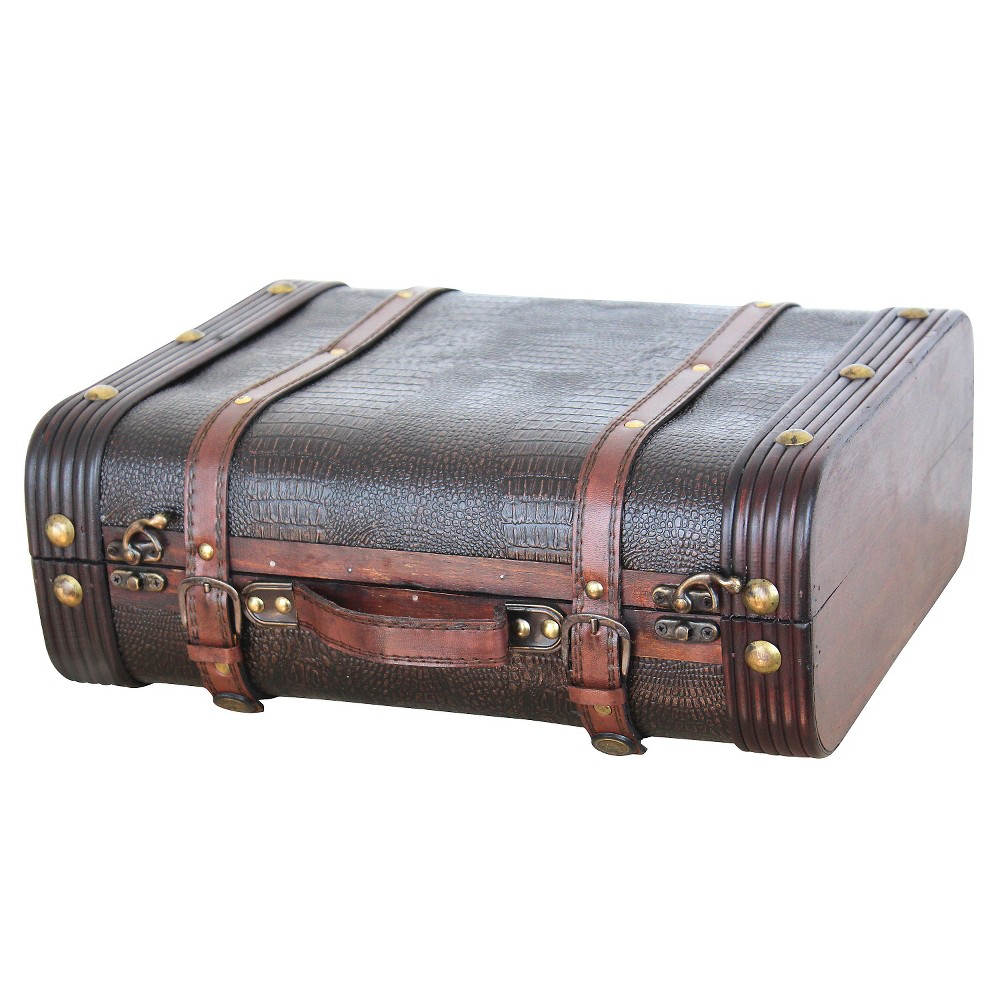 Decorative Wooden Leather Suitcase - Quickway Imports, Brown