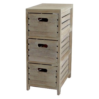 Distressed Washed Wood Crates Cabinet 3 Drawer Chest - Quickway Imports