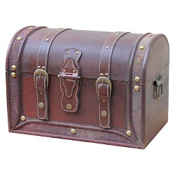 Antique Style Wood And Leather Trunk With Round Top - Quickway Imports