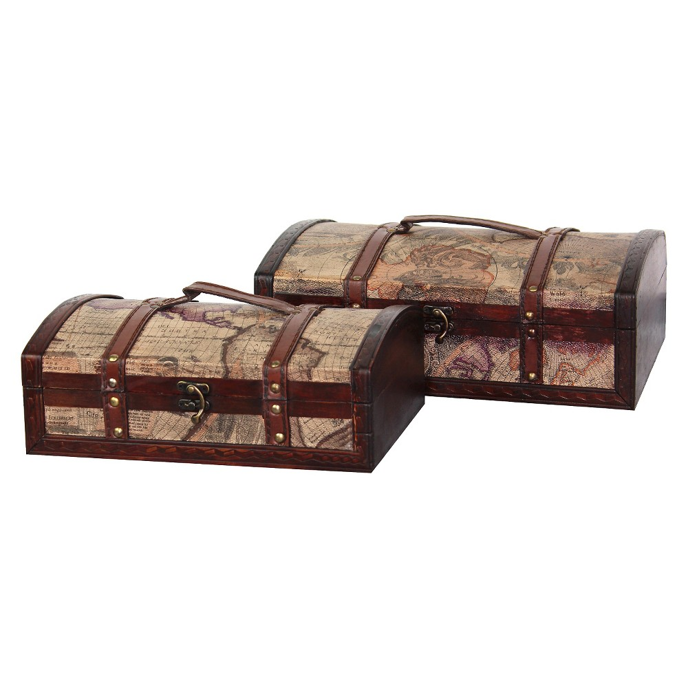 Old World Map Treasure Chest (Set of 2) - Quickway Imports, Ivory/Brown