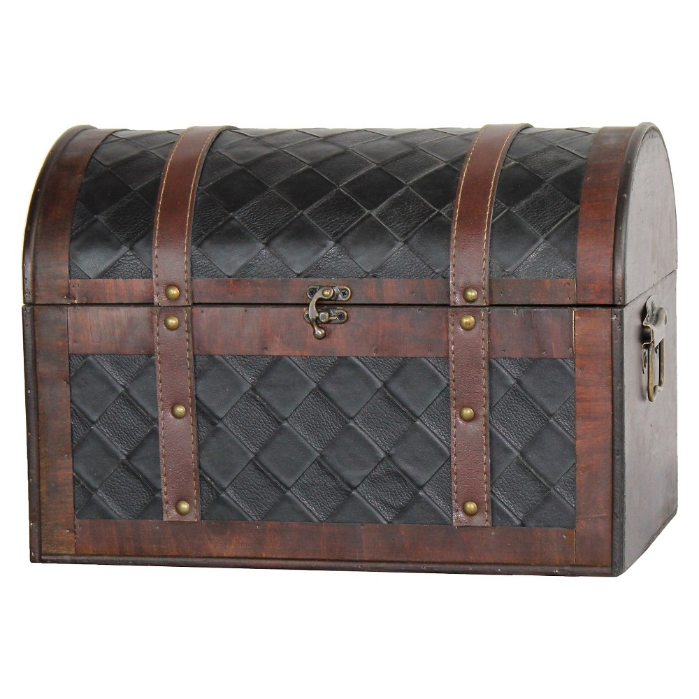 Wooden Leather Treasure Chest - Quickway Imports, Black/Brown