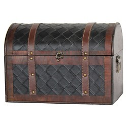 Wooden Leather Treasure Chest - Quickway Imports