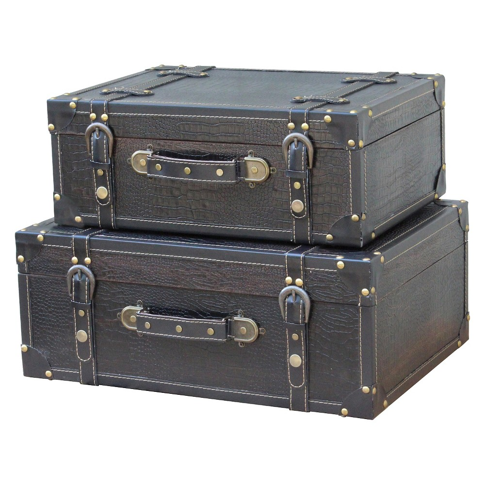 Antique Style Suitcase With Straps Black Leather (Set of 2) - Quickway Imports, Dark Gray