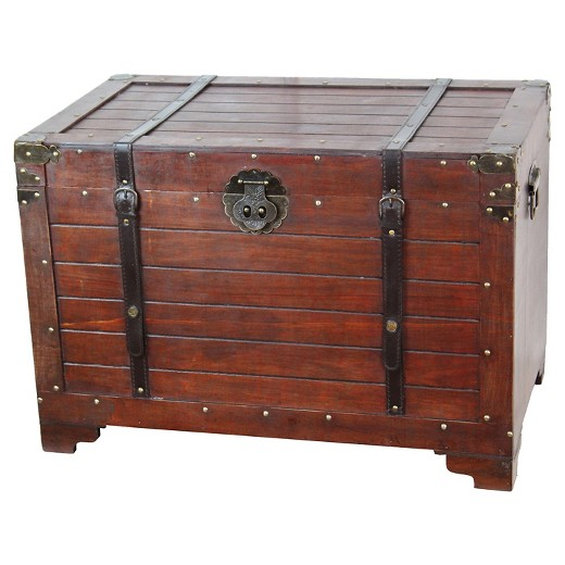 Old fashioned wood storage trunk wooden treasure hope chest quickway imports target - Footlockers storage ...