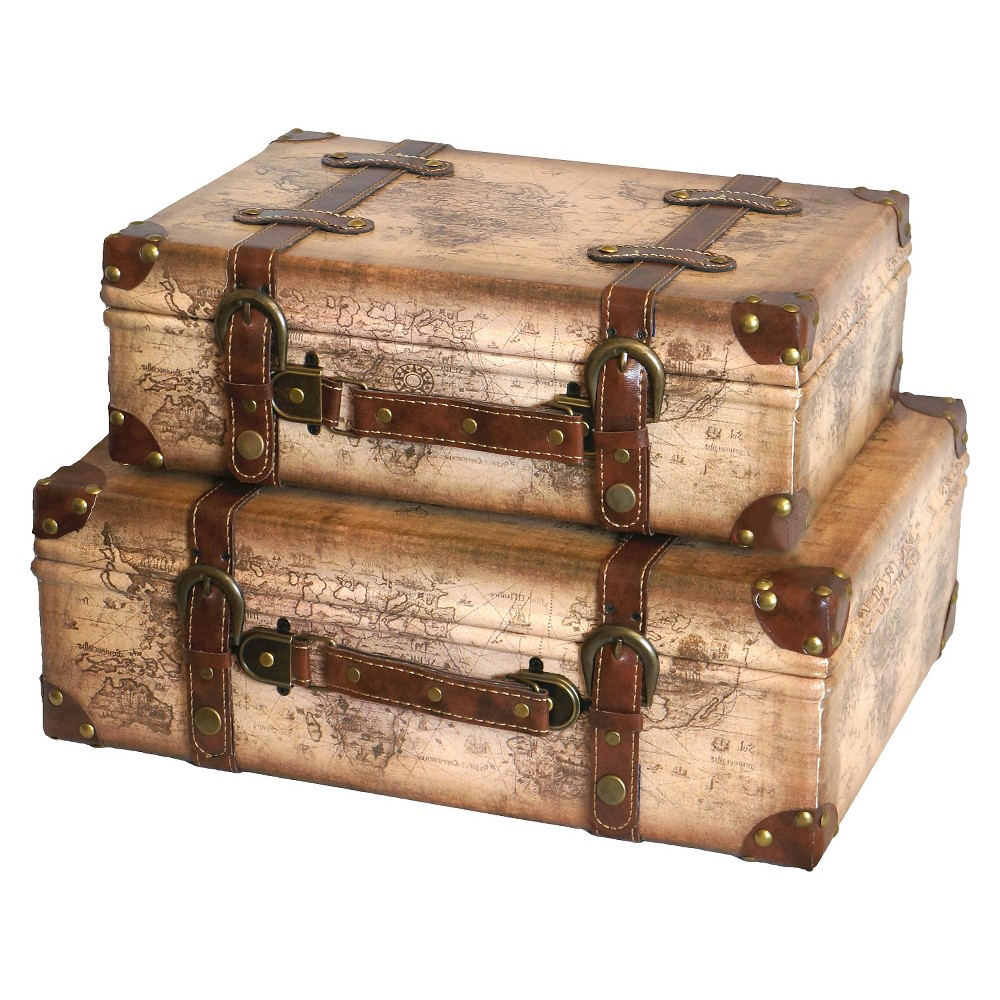 Old World Map Leather Vintage Style Suitcase with Straps (Set of 2) - Quickway Imports, Ivory