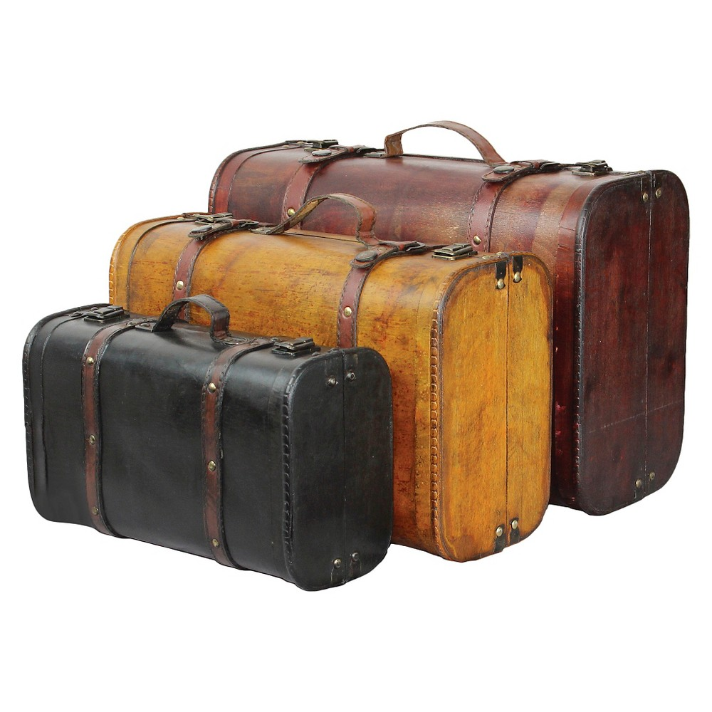Three Colored Vintage Style Luggage Suitcase (Set of 3) - Quickway Imports, Brown