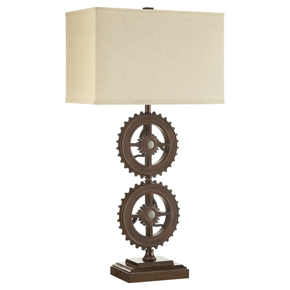 Beckman Industrial Gear Accent Table Lamp, Brown