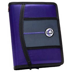 "Case•it 1"" 3 Ring Binder with Zipper Cover 9 Pockets 5.5"" x 11"" Purple"