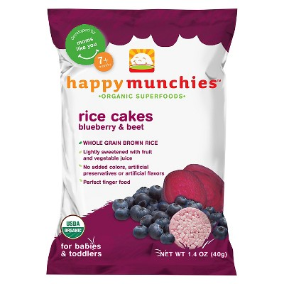 Happy Munchies Organic Blueberry & Beet Rice Cakes - 1.4oz (3 pk)