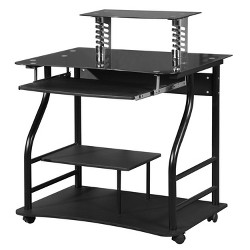 Arch Corner Desk With Multi Level Storage Silver Black