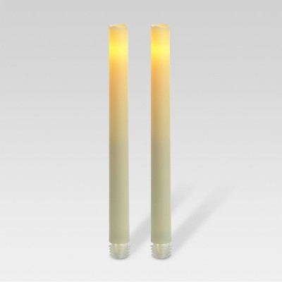 2ct battery operated led taper candle set cream threshold