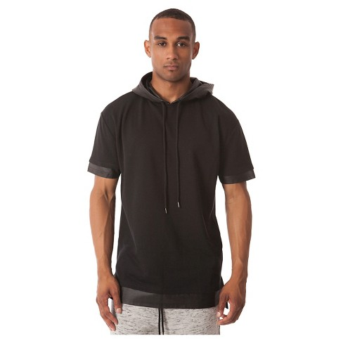 Jackson - Men's Short Sleeve Layered Hoodie Black - image 1 of 4