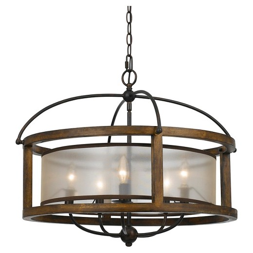 Cal Lighting Mission wood and Metal 5 light PendantChandelier – Wood Iron Chandelier