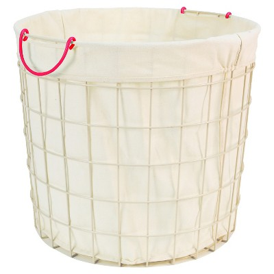 Lined Wire Floor Bin Round with Pink Handle - Pillowfort™