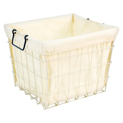 Lined Wire Milkcrate Large with Navy Handle - Pillowfort™