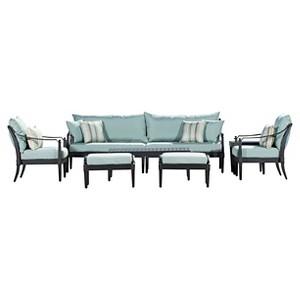 Rst Brands Astoria 8-piece Sofa & Club Chair Set - Bliss Blue