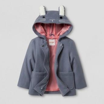 Toddler Girls' Bunny Ears Pea Coat - Cat & Jack™ Gray