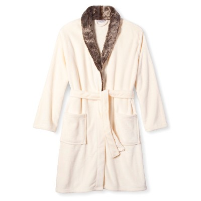 Women's Plush Faux Fur Trim Robe - Hotel Spa - White - S/M