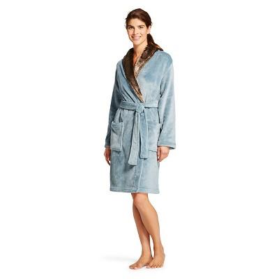 Women's Plush Faux Fur Trim Robe - Hotel Spa - Blue - L/XL