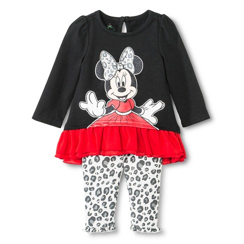 Minnie Mouse Newborn Girls' Top And Bottom Set - Black 0-3M - image 1 of 2