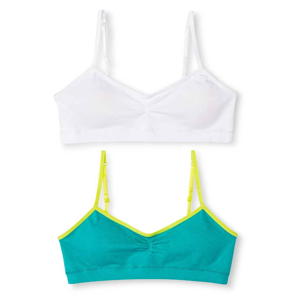 Hanes Red Label Girls 2pk Bras - Teal (Blue) S
