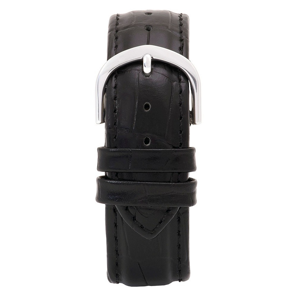 Speidel Express Leather Crocodile Pattern Replacement Watchband Fits 20mm - Black, Adult Unisex