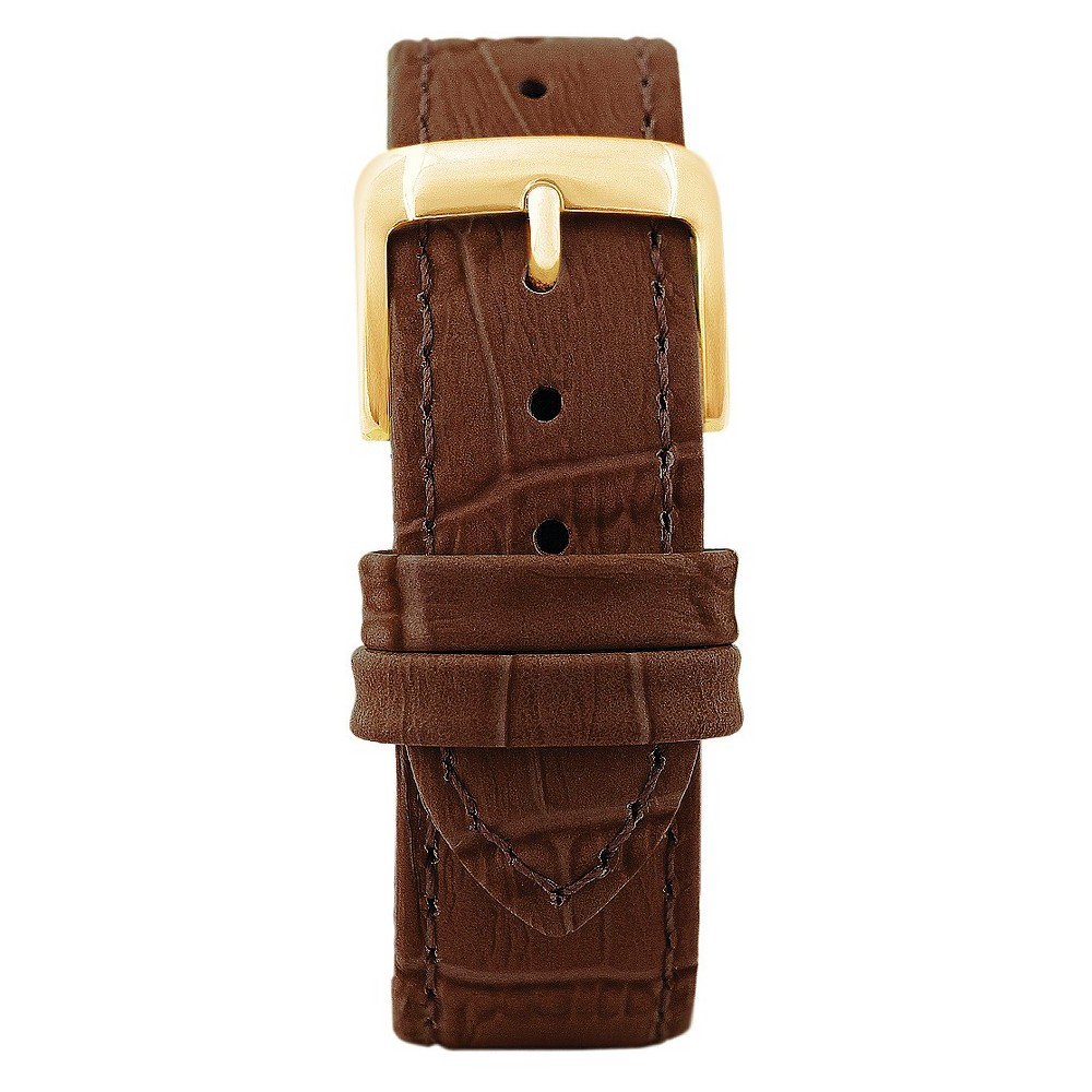 Speidel Leather with Alligator Pattern Replacement Watchband Fits 20mm - Brown, Adult Unisex