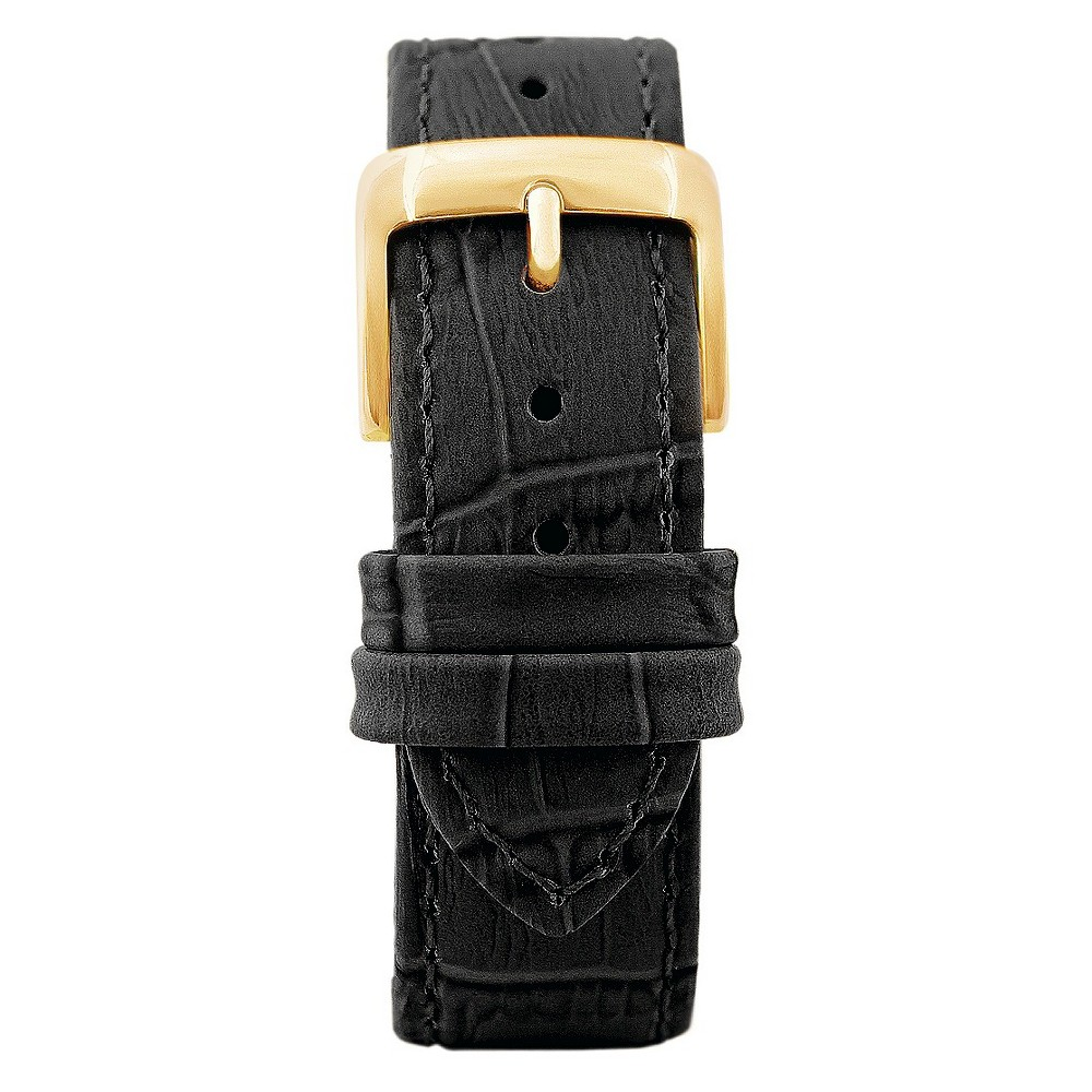 Speidel Leather with Alligator Pattern Replacement Watchband Fits 18mm - Black, Adult Unisex