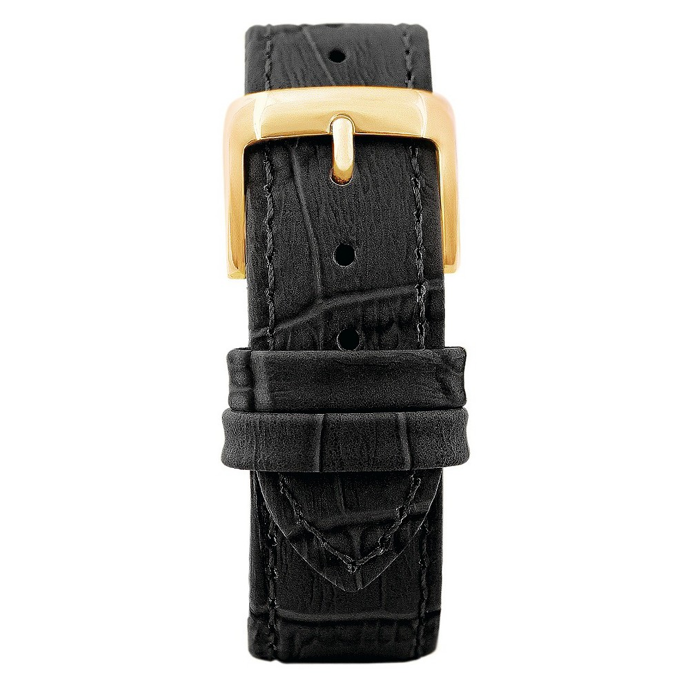 Speidel Leather with Alligator Pattern Replacement Watchband Fits 22mm - Black, Adult Unisex