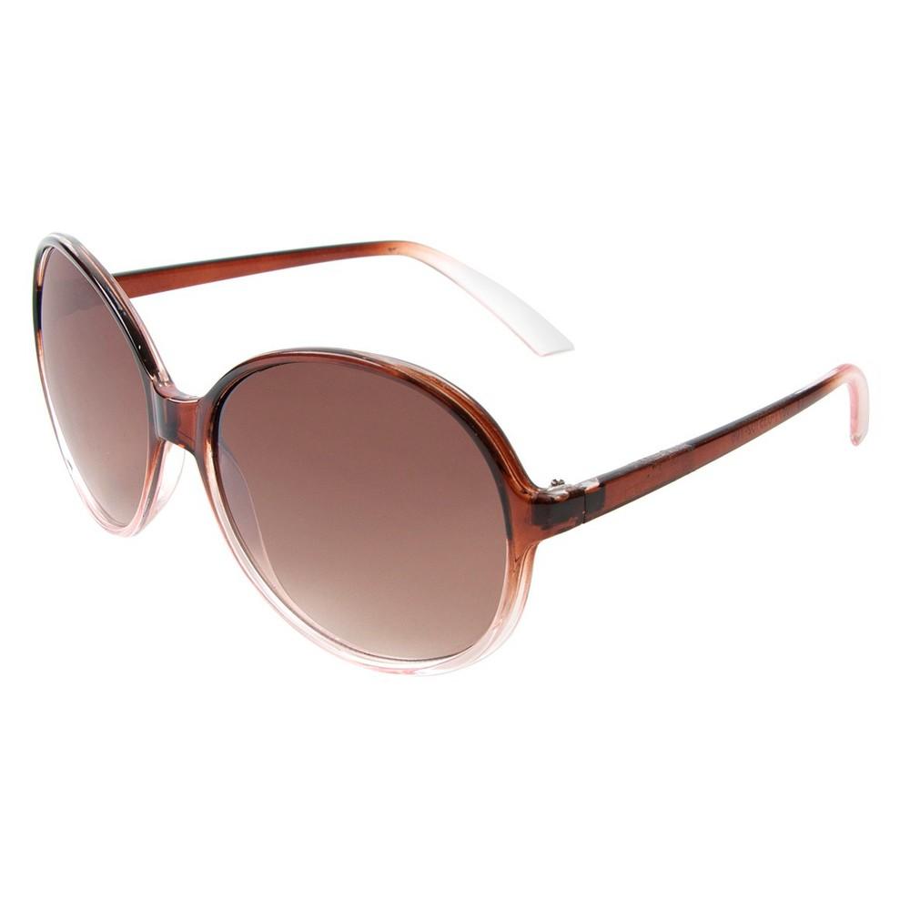 Womens Round Sunglasses- Brown