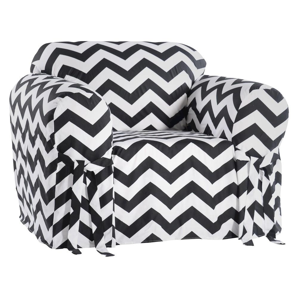 Black/White Chevron Chair Slipcover