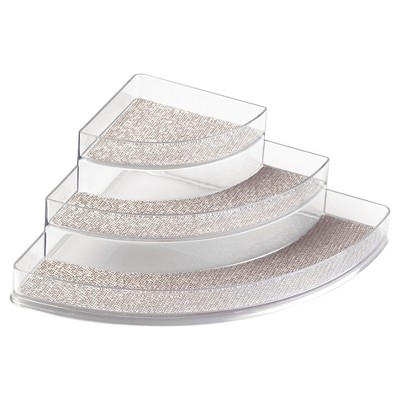 InterDesign Twillo Corner Spice Rack, 3-Tier Organizer - Metallic/Clear