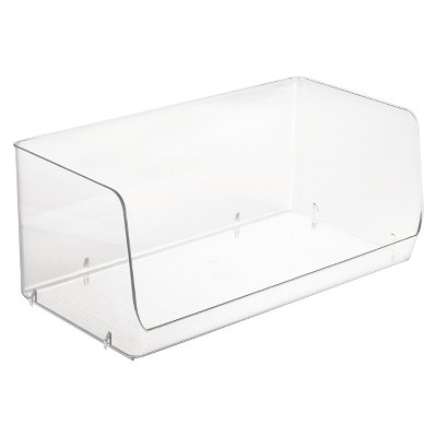 interdesign linus 2x stacking storage bin clear large
