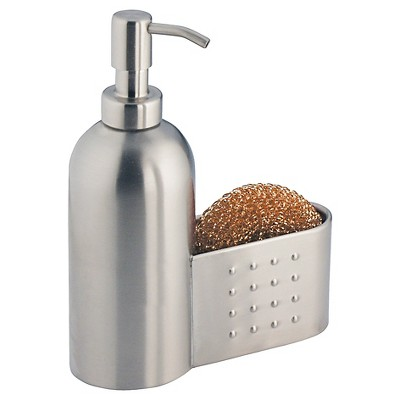 InterDesign Forma Stainless Steel Soap Pump & Sponge Caddy - Brushed (18 oz.)