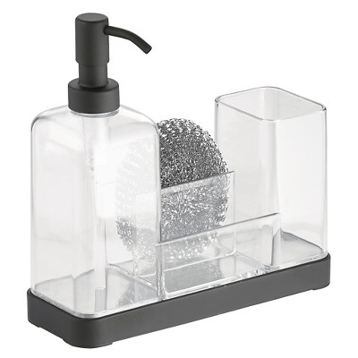InterDesign Forma Plastic Soap Pump & Brush Caddy - Black/Clear (16 oz.)