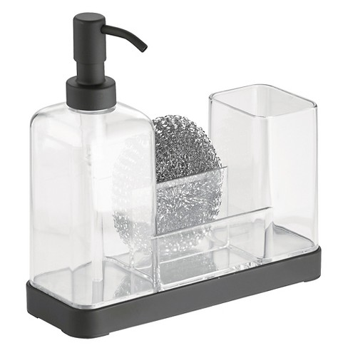 InterDesign Forma Plastic Soap Pump & Brush Caddy - Black/Clear (16 oz.) - image 1 of 1