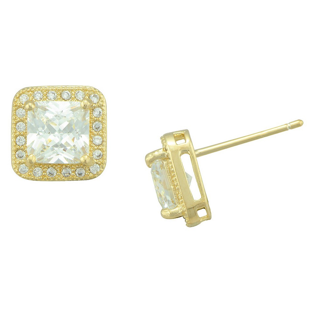 Womens Cubic Zirconia Square Halo Stud Earrings in Gold Plating