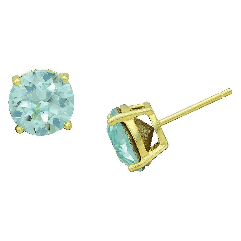 Womens Gold Plated Lt. Azure Stud Earrings (8mm), Gold/Green