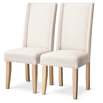 charlie modern wingback dining chair with nailheads cream set of 2