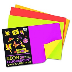 Pacon® Neon Construction Paper, 76 lbs - Multi-Colored (20 Sheets Per Pack)