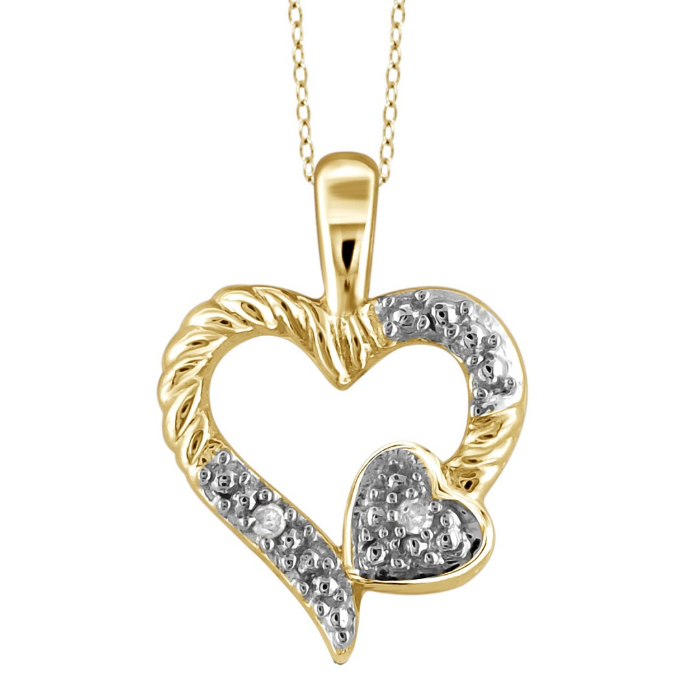 Womens Sterling Silver Round-Cut White Diamond Pave Set Double Heart Pendant - Yellow (18)