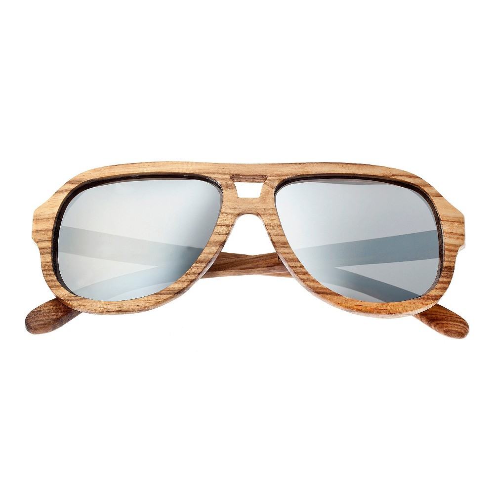 Earth Wood Cannon Unisex Sunglasses with Silver Lens - Bark (Brown)