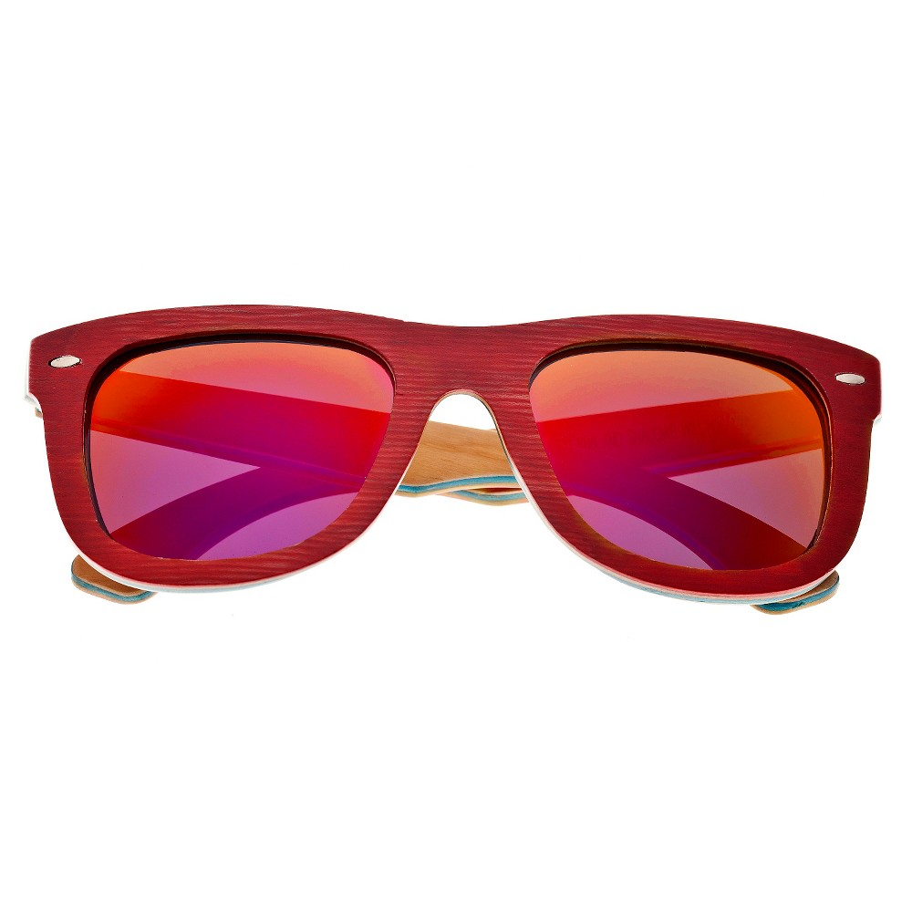 Earth Wood Malibu Unisex Sunglasses with Red Lens - Red, Calypso Red