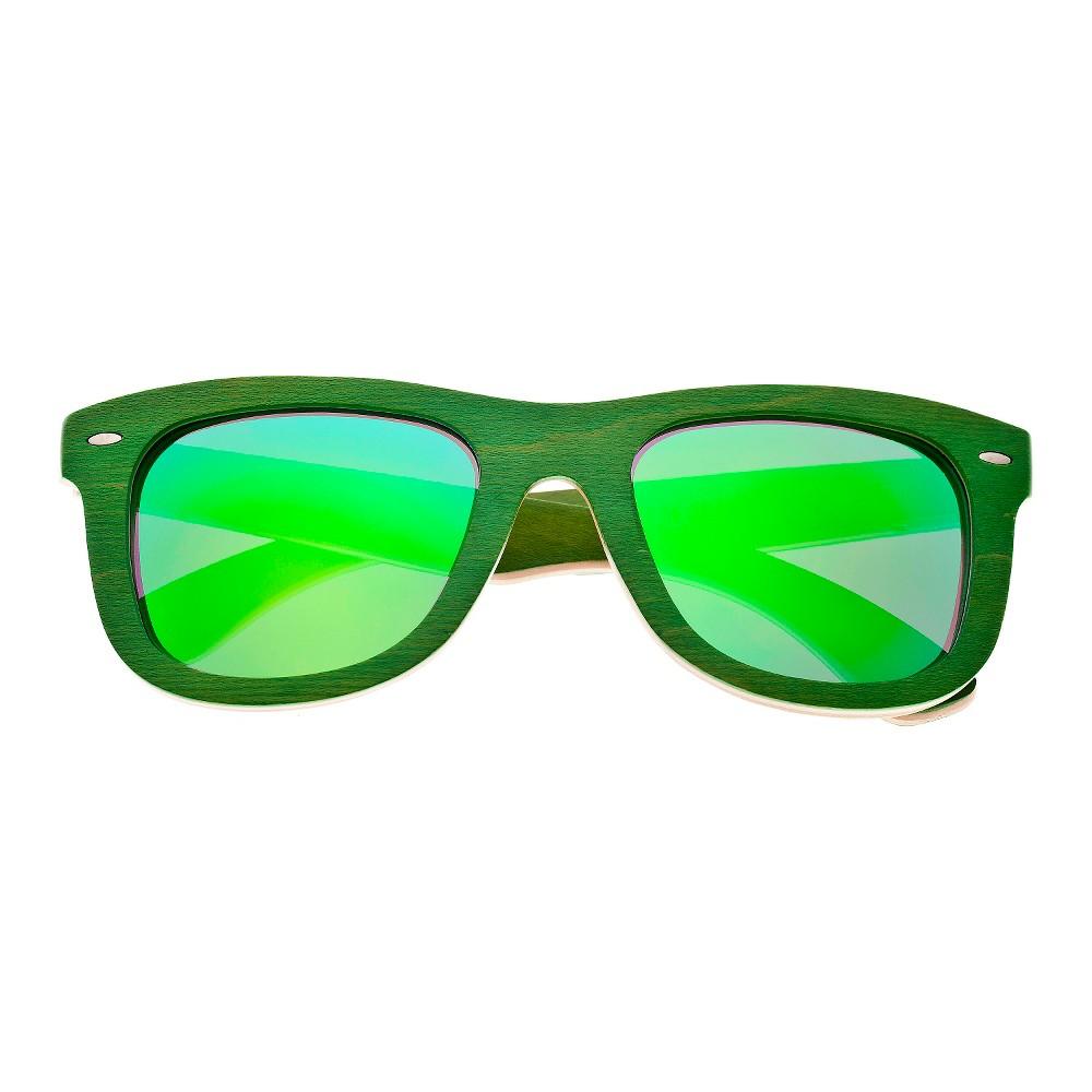 Earth Wood Malibu Unisex Sunglasses with Green Lens - Blue, Lime Haze