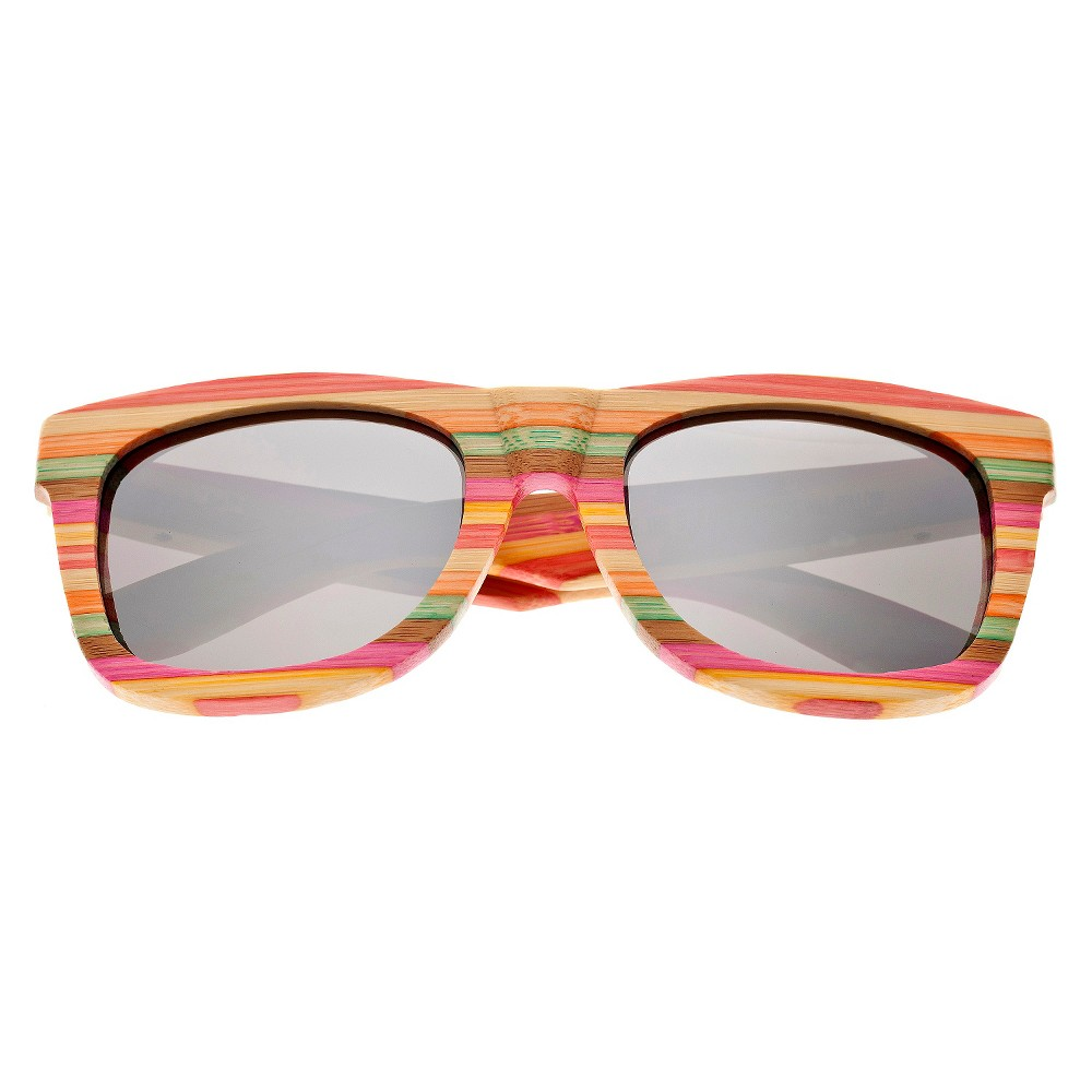 Earth Wood Delray Unisex Sunglasses with Silver Lens, Multi-Colored