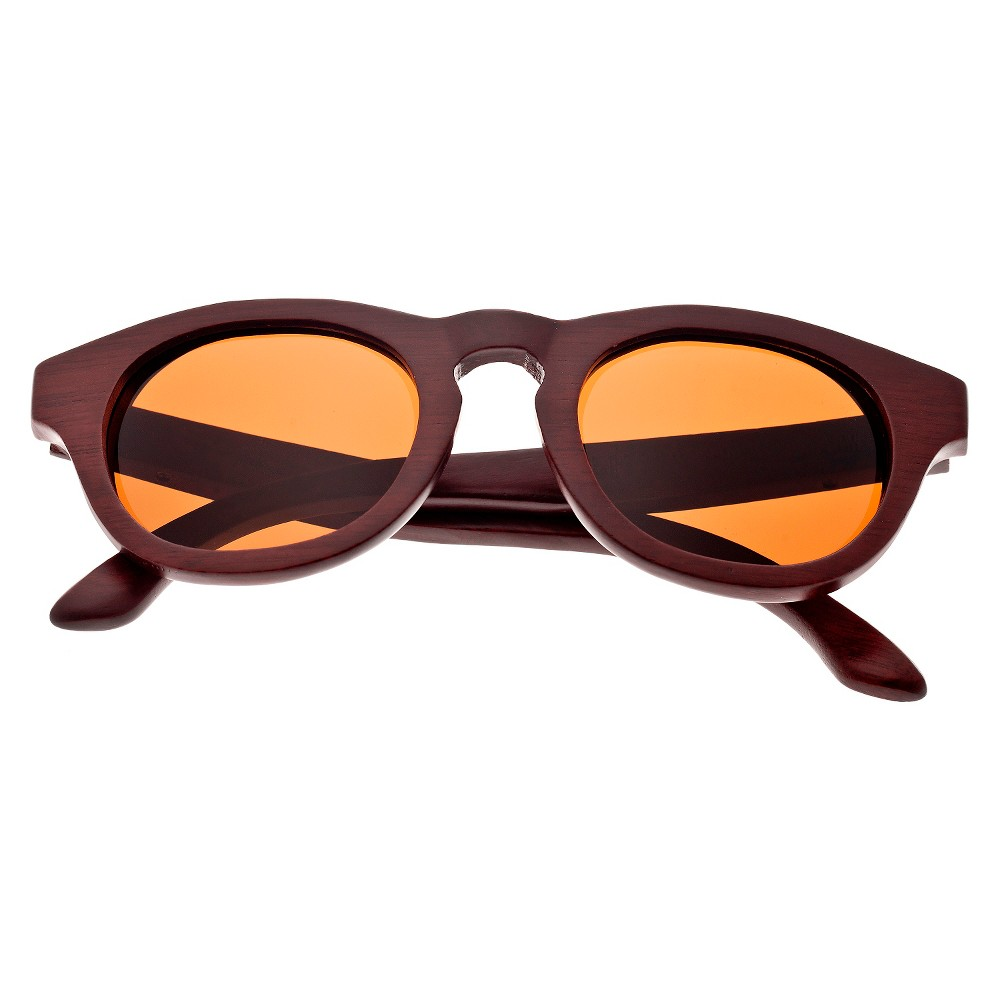 Earth Wood Cocoa Unisex Sunglasses with Brown Lens - Red, Red Oak