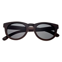 Earth Wood Wildcat Unisex Sunglasses with Black Lens - Brown