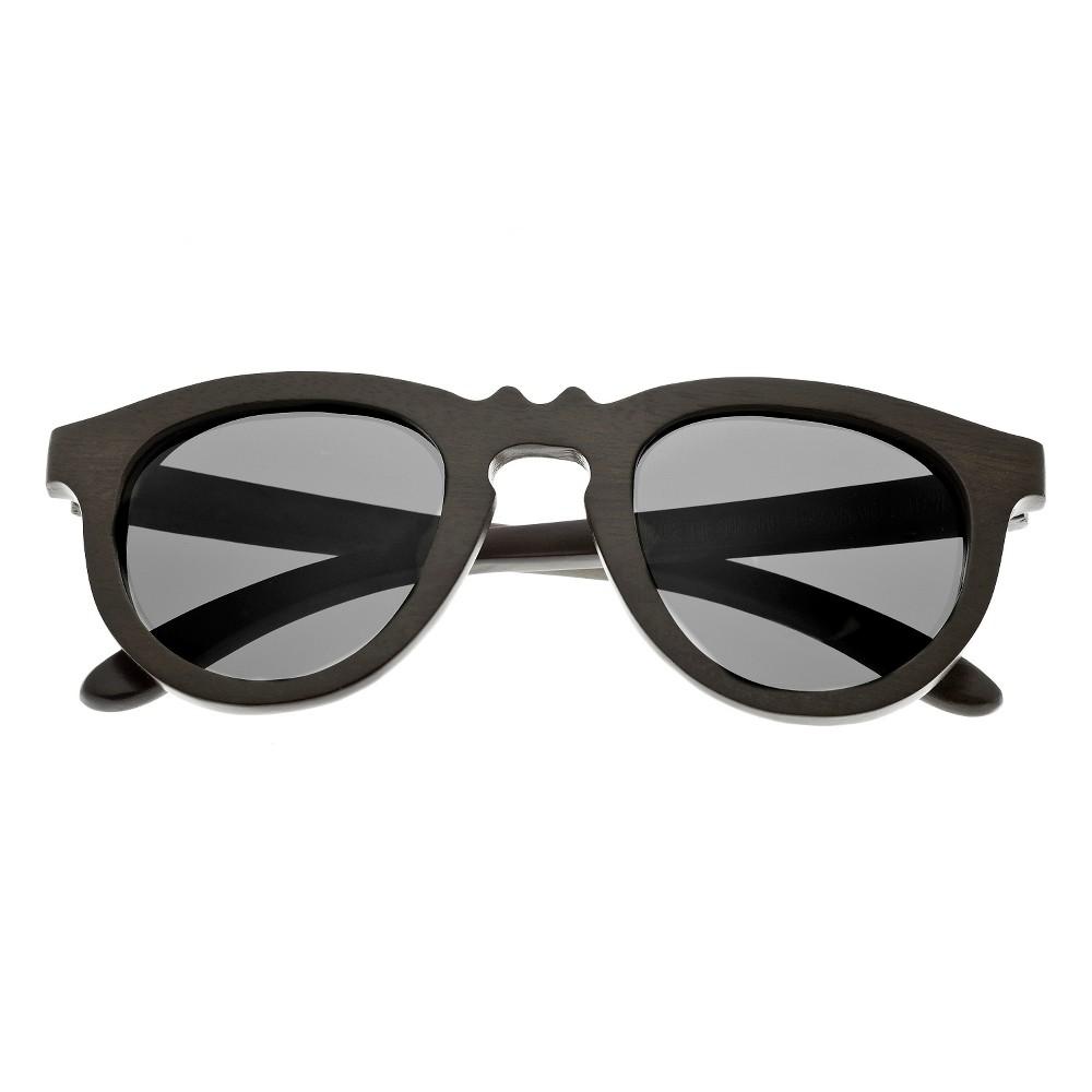 Earth Wood Venice Unisex Sunglasses with Black Lens - Brown, Dark Oak