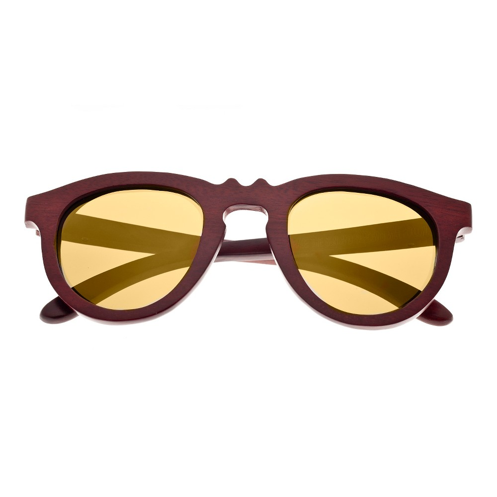 Earth Wood Venice Unisex Sunglasses with Gold Lens - Red, Red Oak